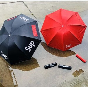 Nuevo alumno paraguas plegable Sup Hombres Y Mujeres Paraguas Sunny pantalla lluvia Sun doble uso Negro Rojo