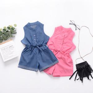 2 Renk Kız Casual Kolsuz Tulumlar Çocuklar Katı Mavi Kırmızı Renk O-Boyun Bağlama Düğmesi Tulum Cep Ile Bebek Kız Tasarımcı Giysi M080