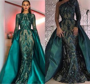 Eremald Green sirena vestidos de baile con tren desmontable 2019 lentejuelas de lujo apliques de manga larga de encaje mancha de cola de pescado vestidos de noche
