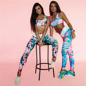 Flower Print Gym Set Women Workout Clothes Letter Stripe Yoga Set 2020 Early Autumn Fitness Clothing Women 2 Piece Workout Sets