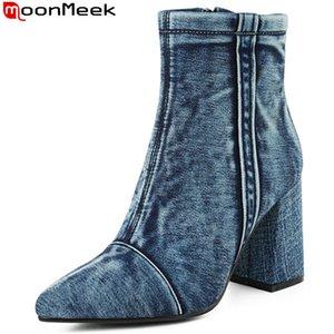 MoonMeek к 2020 году новые ботинки для женщин острым носом молния высокие каблуки выпускного вечера сапоги джинсы классические осень зима женщины с