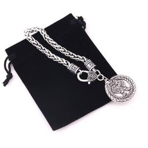 Dragón de la vendimia con Raven colgante Viking Nordic tótem animal amuleto de trigo pulsera de cadena