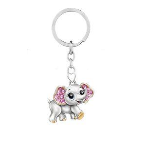 Diamant Tierkeychain Cartoon Elefant Eule Biene Keychain Schlüsselanhänger Frauen Schlüsselkettenbeutel hängt Modeschmuck