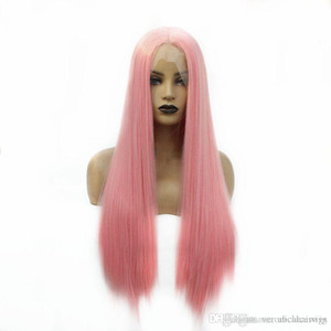 New Arrival 26inch Pink Color Long Straight Wigs Natural Soft Synthetic Lace Front Wigs for Black Women