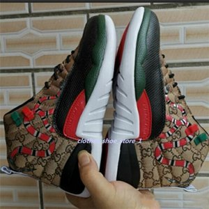 xshfbcl 2020 New 12 GS Snakeskin Black Brown Red Retro Men's Basketball Shoes 12s Mens Snakeskin Multicolor Sports progettista Sneakers