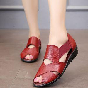 Venta caliente-Marca 2019 Verano Gladiador Roma Sandalias Casuales Zapatos de mujer Sandalia Feminina Cuero Genuino Tacón de Cuña Sandalias Confort m936