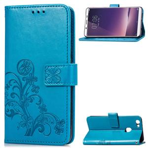 Cas de portefeuille de téléphonie mobile pour Vivo 1716 PU Housse en cuir avec support cartes embossées chanceux à quatre feuilles Motif (Modèle: Vivo1716)