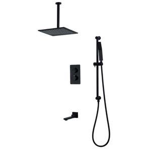 6pcs noir pommeau de douche Set tête de douche au plafond, bras de plafond, pulvérisation de poche, barre coulissante, tuyau flexible, accessoires de bain robinet