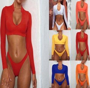 Maillots de bain manches longues sexy maillot de bain féminin bikini maille femmes taille haute de trois pièces Maillots de bain Maillot de Bain Equipement de natation de vêtements de bain