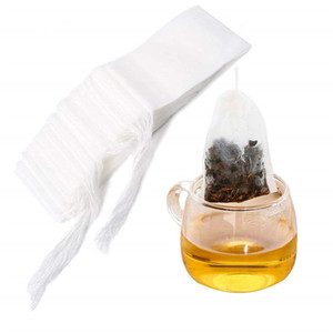 100Pcs Lot Tea Filter Bags Non Woven Disposable Drawstring Tea Infuser String Filter Bag for Tea Coffee