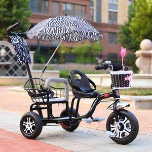 Twin Kinderwagen Kinder Dreirad Kinderfahrrad Kinderwagen Doppelsitz Regenschirm Reise Wagen Baby Trolley mit Musik und Licht 2-6Y