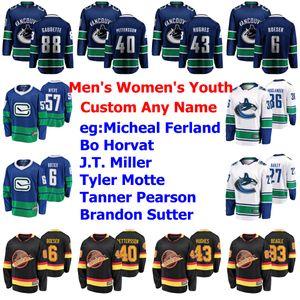 Mens Personalizar Vancouver Canucks Jerseys Brock Boeser Jersey Demko Quinn Hughes Jacob Markstrom Elias Pettersson Ice Hockey Jerseys costurado