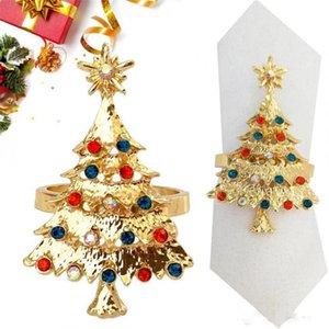 크리스마스 트리 냅킨 링 골드 실버 금속 냅킨 링 크리스마스 레스토랑 냅킨 냅킨 장식 크리스마스 테이블 장식