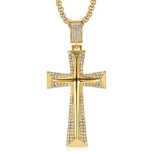 Hip Hop Iced Out Bling Cross Pendant Necklaces For Men Gold Color Stainless Steel Crucifix Male Christian Jewelry Dropshipping