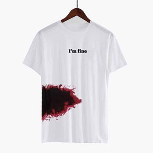 New Fashion Men's T-shirts Cotton Blend Short Sleeve Summer Tee Shirts 2020 White I'm Fine Funny Tshirts Man Gift Clothing 2060614V