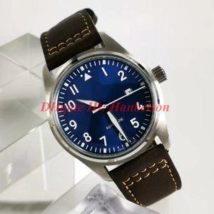 NUEVA IW327004 relojes Luxusuhr orologio di Lusso piloto pequeño príncipe mens Correa de cuero reloj automático línea azul relojes de lujo para hombre
