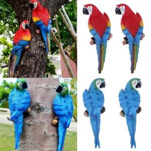 4шт Моделирование Parrot игрушки Lifelike Фигурка Искусственный Декор сада Модель скульптуры Украшение Half Side Смола