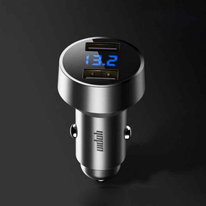 Dual USB Car Charger Adapter 2.4A Digital LED Voltage Current Display Auto Vehicle Metal Charger For Smart Phone Tablet