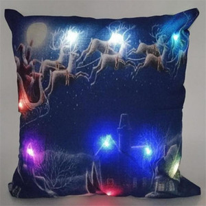 Led Light Pillow Case Luminous Christmas Decorations Pillow Cover Santa Claus Reindeer Pillowcase Sofa Car Decor Linen Cushion Covers Best