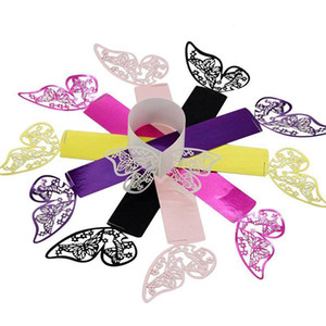 Hollow Butterfly Napkin Buckles Paper Napkin Rings Laser Cut Multicolor For Party Wedding Favors Hotel Table Decorations