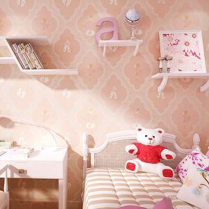 Papier Peint Dessin Animé 3D Non Tissé Belle Fille Papier Peint Rouleau Enfant Princesse Peinture Murale Danse Fille Chambre Rose