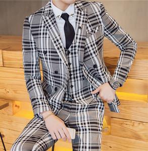 Setwell Männlich Drei Stücke Plaid Herren Anzüge Slim Fit zweireihiger Hochzeit Smokings Prom Bester Mann Blazer New Designs (Jacket + Pants + Vest)