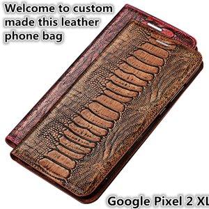 QX15 avestruz pie patrón Gneuine cuero Flip Phone Bag para Google Pixel 2 XL caja magnética con soporte Kickstand Google Pixel 2XL caja del teléfono