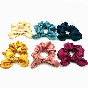 30 adet / grup 6 renkler için Kaliteli Ipek Saten Scrunchies Saç Fantezi Bunny Kulak Scrunchies At Kuyruğu Tutucu Kafa giymek Saç Kravat