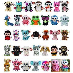 35 especies de diseño Ty Beanie Boos peluche juguetes de peluche 15cm al por mayor de Ojos Grandes Animales suave muñecas de cumpleaños de los niños juguetes regalos ty