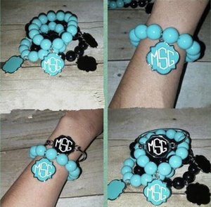 Colorful Blank Enamel Clover Monogram Beads Bangles Elastic Charm Bracelets for Women Fashion Inspirational Jewelry Monogram
