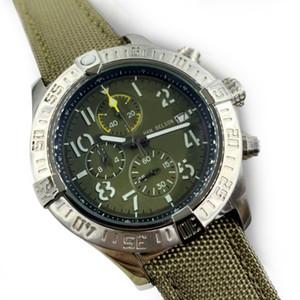 الكلاسيكية 1884 رجل جودة عالية ووتش حزام الساعات الرجال الجيش الأخضر النايلون الجلود حزام wristwatach relojes de lujo الفقرة hombre 46 ملليمتر