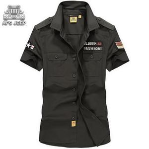 Camicia da uomo militare estiva slim fit Camicia da uomo casual afs jeep in cotone a maniche corte Stampa camisa hombre