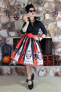 Moda contrasto di colore a righe Womens Umbrella Skirt progettista delle donne gonna a pieghe di Halloween Vestito con motivo estate stampato