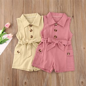 2020 Fashion Summer Casual Infant Baby Girls Solid Single breasted Rompers Overalls Sleeveless Turn Collar Shorts 2 Colors