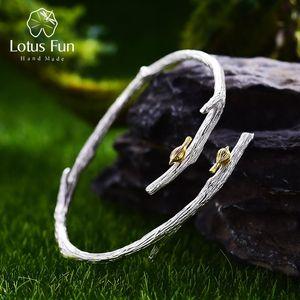 Lotus Fun Real 925 Sterling Silver Natural Original Handmade Fine Jewelry Bird on Branch Adjustable Bangle for Women Bijoux