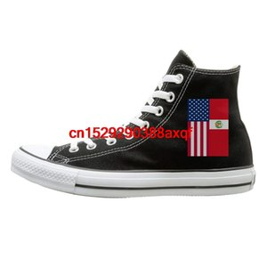 Canvas Shoes Peru American Flag Casual High-Top Lace Ups Canvas Sneakers For Unisex