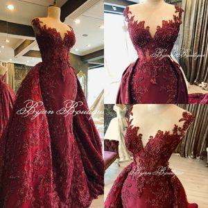 Burgundy Evening Dresses Plus Size Appliqued Bead Formal Prom Dress With Detachable Train Sweep Train Custom Made Robes De Soirée