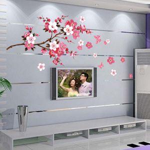 3D Cherry Blossom WALL Стикер Art Home Room Декор Графический Цветы Лепестки Дерево
