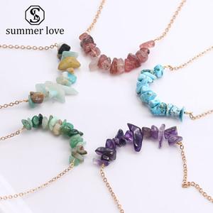 Boho природные нерегулярные щебень бусины кулон ожерелье для женщин мода медная цепь позолоченные ожерелье друг подарок на День Рождения ювелирные изделия