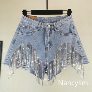 NANCYLIM 2019 Moda estate a gamba larga pantaloni a vita denim shorts pesanti strass frange foro Jeans Shorts femminile alte donne
