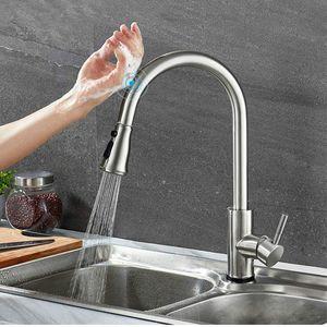 Touch Sense Control Cocina Faucet Pull Out Sink Water Mixer Tapware Doble flujo Configuración Botón de pausa Acero inoxidable cepillado