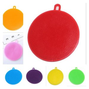 Multi-function Silicone Dishwashing Brush Kitchen household double-sided cleaning brush Cleaning Cloths Dish Scouring Pads BBA16