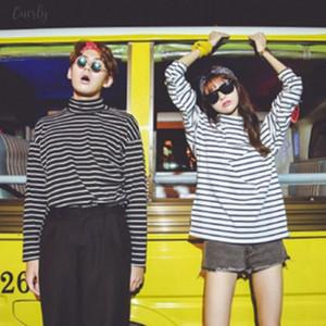 Tee Shirts Woman 2020 Spring New Korean Harajuku Striped Turtleneck T Shirt For Women Long Sleeve T Shirts Casual Tops