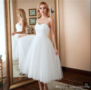 Robe de mariage uma linha branca de cetim tule spaghetti tiras de casamento de comprimento chá vestido curto meninas informal petite vestidos de casamento a melhor venda