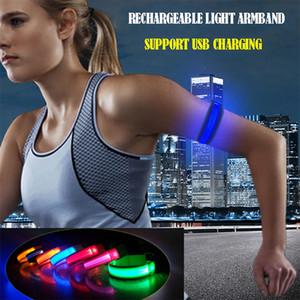 LED Pulseiras 1PCS Running luz Esporte USB ajustáveis pulseiras de incandescência por corredores Corredores ciclistas equitação Segurança da bicicleta