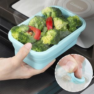4pcs / set Food Compliable Food Storage Contains with Lids Portable Silicone Food Contains Outdoor Travel Box Bento Box