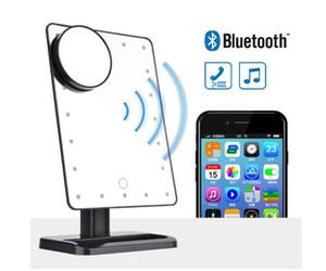 Altavoz Bluetooth 20 LEDs de maquillaje Espejo de mesa Maquillaje de Comestic Ajustable Espejo de baño con un aumento de 10x