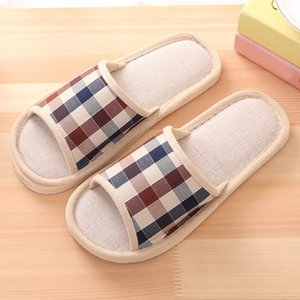 25# Men's Fashion Casual Couples Gingham Home Slippers Indoor Floor Flat Shoes Slippers Indoor Bedroom Lovers Couples Soft Shoes