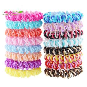 Corda Unique metallizzato Colore legami dei capelli Linea telefonica di capelli a forma di spirale elastici Anelli capelli per le ragazze Usa colore casuale