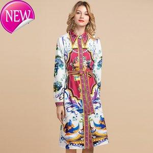 Yüksek Kaliteli Yaz Moda Pist Gömlek Elbise Bayan Long Sleeve Kristal Boncuk Çiçek Vintage Kuşaklı Gevşek Elbise yazdır
